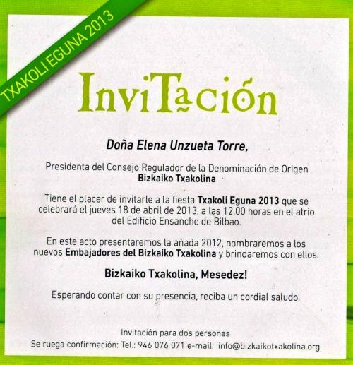 Invitacion txakoli eguna