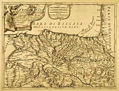 Precioso mapa de el norte de españa en la q se puede apreciar los cursos de los rios, las montaña y los lugares con bastante detalle . El motivo del mapa era cartografiar la zona vasca y fue Giacomo Cantelli da Vignola,quien lo publico en su atlas 'Mercurio Geografico'en 1696. - http://cartografiacantabria.blogspot.com.es/